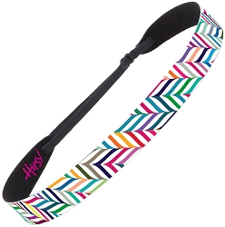 Hipsy Adjustable NO SLIP Herringbone White Multi Wide Headband