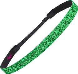 Hipsy Skinny ULTRAHOLD Emerald Green Bling Glitter Adjustable Headband