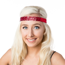 Hipsy Adjustable NO SLIP Bling Glitter Red Wide Headband