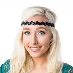 Hipsy Adjustable NO SLIP Bling Glitter Peacock Wave Headband