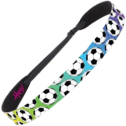 Hipsy Adjustable NO SLIP Soccer Balls Rainbow Wide Headband