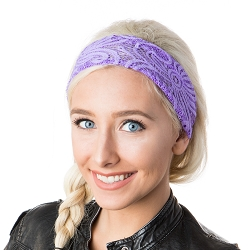 Hipsy Unisex Adjustable Spandex Xflex Lace Purple Headband