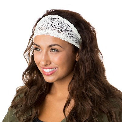 Hipsy Unisex Adjustable Spandex Xflex Lace Ivory Headband