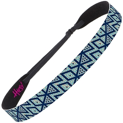 Hipsy Adjustable NO SLIP Aztec Navy & Coral Wide Non-Slip Headband