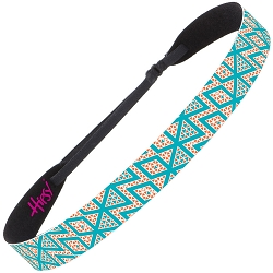 Hipsy Adjustable NO SLIP Aztec Teal & Orange Wide Non-Slip Headband
