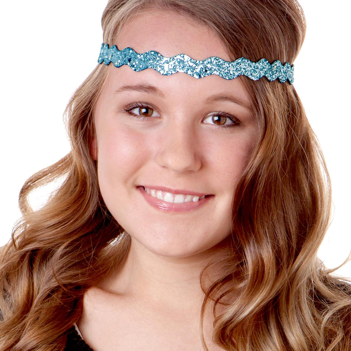 Home   Glitter   Bling Glitter   Hipsy Adjustable NO SLIP Bling Glitter  Light Blue Wave Non-Slip Headband efef0442d8a