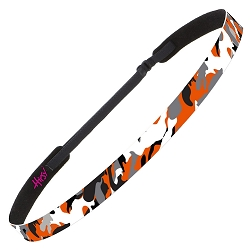 Hipsy Adjustable NO SLIP Retro Camo Orange Skinny Non-Slip Headband
