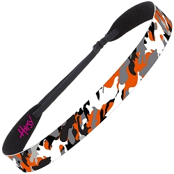 Hipsy Adjustable NO SLIP Retro Camo Orange Wide Non-Slip Headband