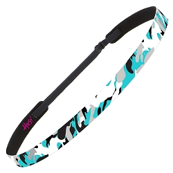 Hipsy Adjustable NO SLIP Retro Camo Teal Skinny Non-Slip Headband