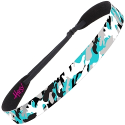 Hipsy Adjustable NO SLIP Retro Camo Teal Wide Non-Slip Headband