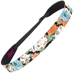 Hipsy Adjustable NO SLIP Spring Flowers Orange & Blue Wide Non-Slip Headband