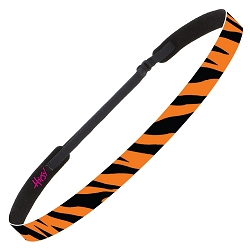 Hipsy Adjustable NO SLIP Bengal Tiger Black & Orange Skinny Non-Slip Headband