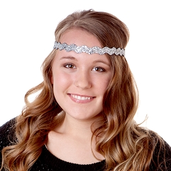 Hipsy Adjustable NO SLIP Bling Glitter Silver Wave Headband