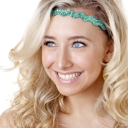 Hipsy Adjustable NO SLIP Bling Glitter Seafoam Wave Non-Slip Headband