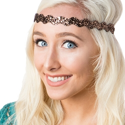 Hipsy Wave NO SLIP Brown Bling Glitter Adjustable Non-Slip Headband