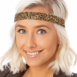 Hipsy Adjustable NO SLIP Bling Glitter Diva Wide Headband