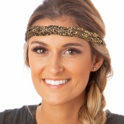 Hipsy Adjustable NO SLIP Bling Glitter Diva Braided Non-Slip Headband