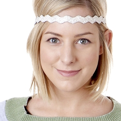 Hipsy Adjustable NO SLIP Bling Glitter White Wave Non-Slip Headband