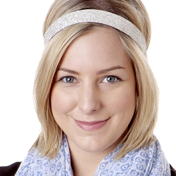 Hipsy Adjustable NO SLIP Bling Glitter White Wide Non-Slip Headband