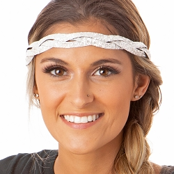 Hipsy Adjustable NO SLIP Bling Glitter White Braided Non-Slip Headband