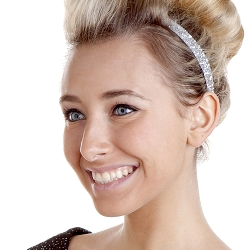 Hipsy Adjustable NO SLIP Bling Glitter Silver Skinny Non-Slip Headband