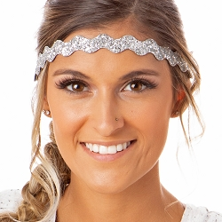 Hipsy Adjustable NO SLIP Bling Glitter Silver Wave Non-Slip Headband