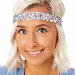 Hipsy Adjustable NO SLIP Bling Glitter Silver Wide Non-Slip Non-Slip Headband