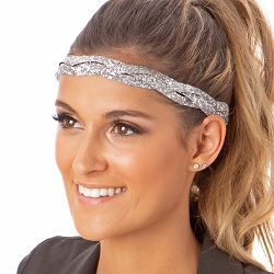 Hipsy Adjustable NO SLIP Bling Glitter Silver Braided Non-Slip Headband