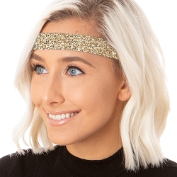 Hipsy Adjustable NO SLIP Bling Glitter Gold Wide Non-Slip Headband