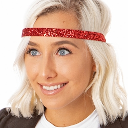 Hipsy Adjustable NO SLIP Bling Glitter Red Skinny Headband