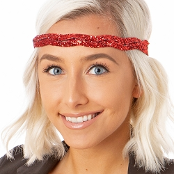 Hipsy Adjustable NO SLIP Bling Glitter Red Braided Non-Slip Headband
