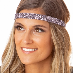 Hipsy Adjustable NO SLIP Bling Glitter Gunmetal Skinny Non-Slip Headband
