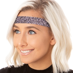 Hipsy Adjustable NO SLIP Bling Glitter Gunmetal Wide Non-Slip Headband