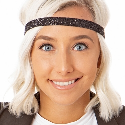 Hipsy Adjustable NO SLIP Bling Glitter Black Skinny Non-Slip Headband