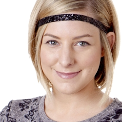 Hipsy Adjustable NO SLIP Bling Glitter Black Skinny Headband
