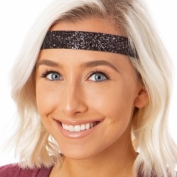 Hipsy Adjustable NO SLIP Bling Glitter Black Wide Non-Slip Headband