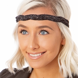 Hipsy Adjustable NO SLIP Bling Glitter Black Braided Non-Slip Headband