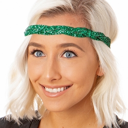 Hipsy Adjustable NO SLIP Bling Glitter Green Braided Non-Slip Headband