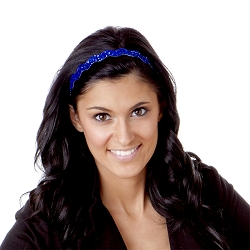Hipsy Adjustable NO SLIP Bling Glitter Royal Blue Wave Headband