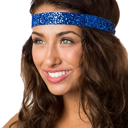Hipsy Adjustable NO SLIP Bling Glitter Royal Blue Wide Non-Slip Headband