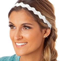 Hipsy Adjustable NO SLIP Sparkly Glitter Pearl Wave Non-Slip Headband