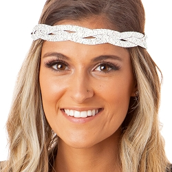 Hipsy Adjustable NO SLIP Sparkly Glitter Pearl Braided Non-Slip Headband