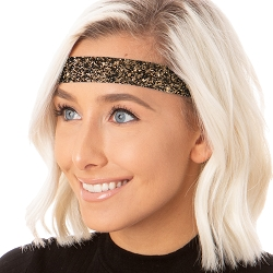Hipsy Adjustable NO SLIP Bling Glitter Brown Wide Non-Slip Headband