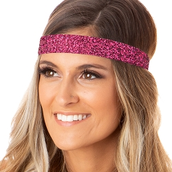 Hipsy Adjustable NO SLIP Bling Glitter Hot Pink Wide Non-Slip Headband