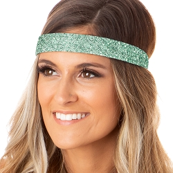 Hipsy Adjustable NO SLIP Bling Glitter Seafoam Wide Non-Slip Headband
