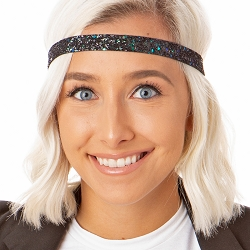 Hipsy Adjustable NO SLIP Bling Glitter Peacock Skinny Non-Slip Headband