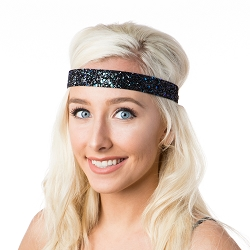 Hipsy Adjustable NO SLIP Bling Glitter Peacock Wide Headband