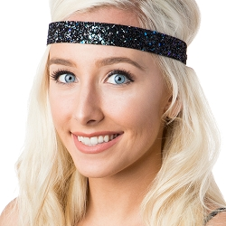 Hipsy Adjustable NO SLIP Bling Glitter Peacock Wide Non-Slip Headband