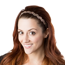 Hipsy Adjustable NO SLIP Bling Glitter Rose Gold Wave Headband