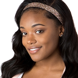 Hipsy Adjustable NO SLIP Bling Glitter Rose Gold Wide Non-Slip Headband
